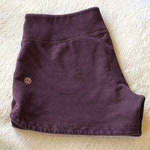 {Lululemon} Plum Cotton Shorts. Size 6. EUC.